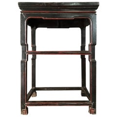 Late 18th Century Chinese Export Black Lacquered Wooden Side Table