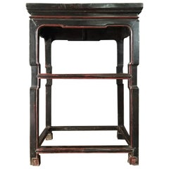 Late 18th Century Chinese Export Lacquered Side Table in Black and Red