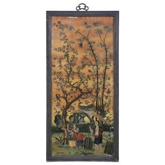 Late 18th Century Chinese Glass Painted Scene of a Family Gathering Fruit