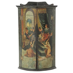 Late 18th Century Corner Cupboard with Painted Medieval Scene & Black Background