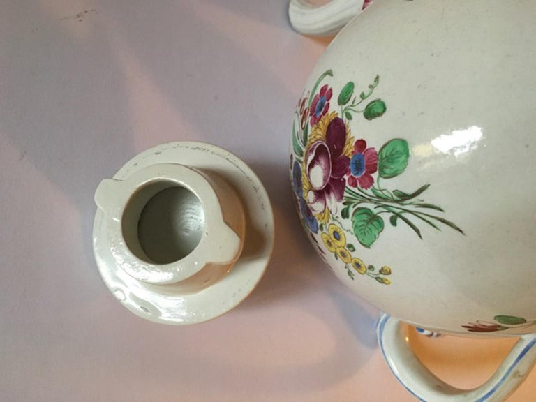 Late 18th Century Doccia Richard Ginori Porcelain Tea Pot with Floral Drawings For Sale 7