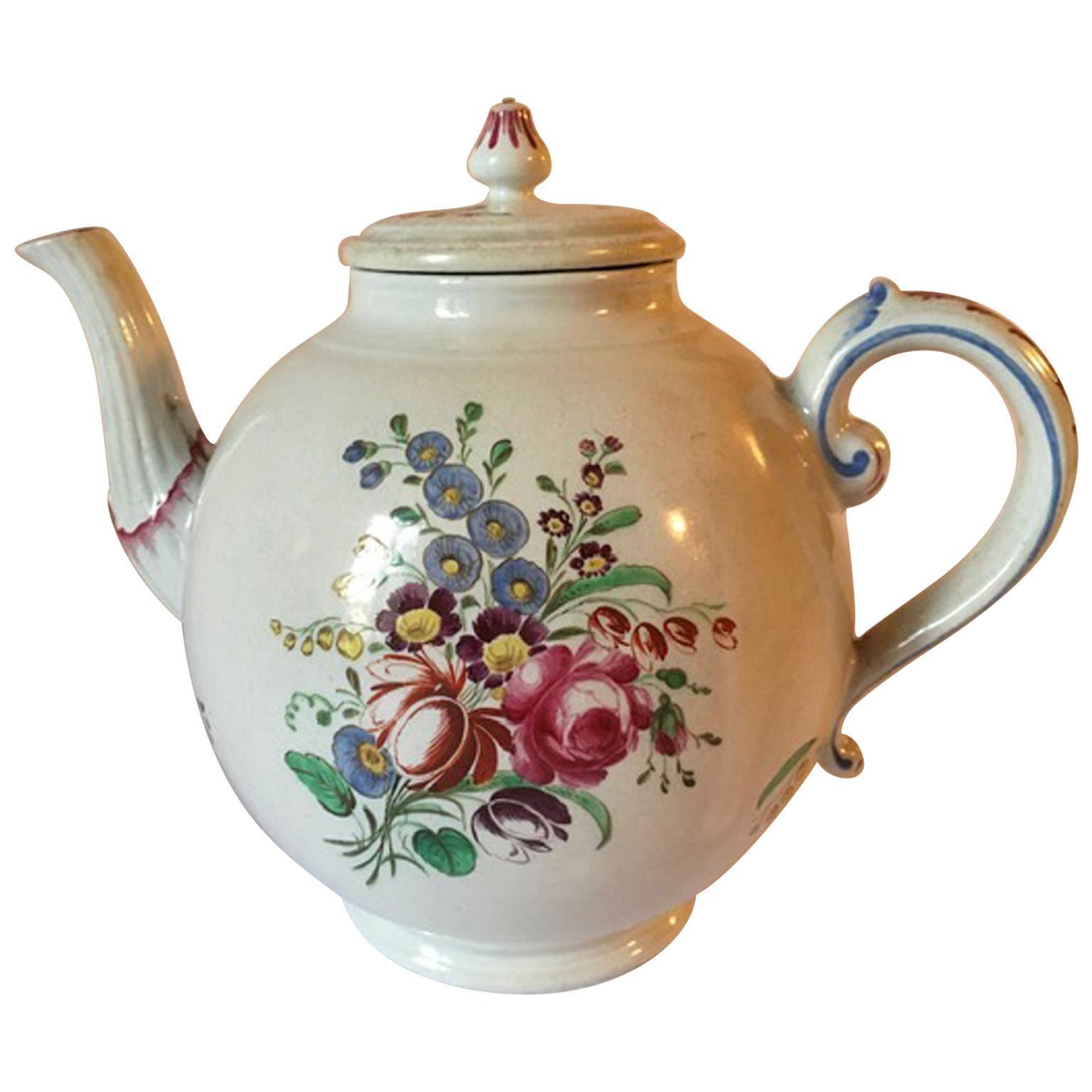 Italy Late 18th Century Doccia Richard Ginori Porcelain Tea Pot Floral Drawings