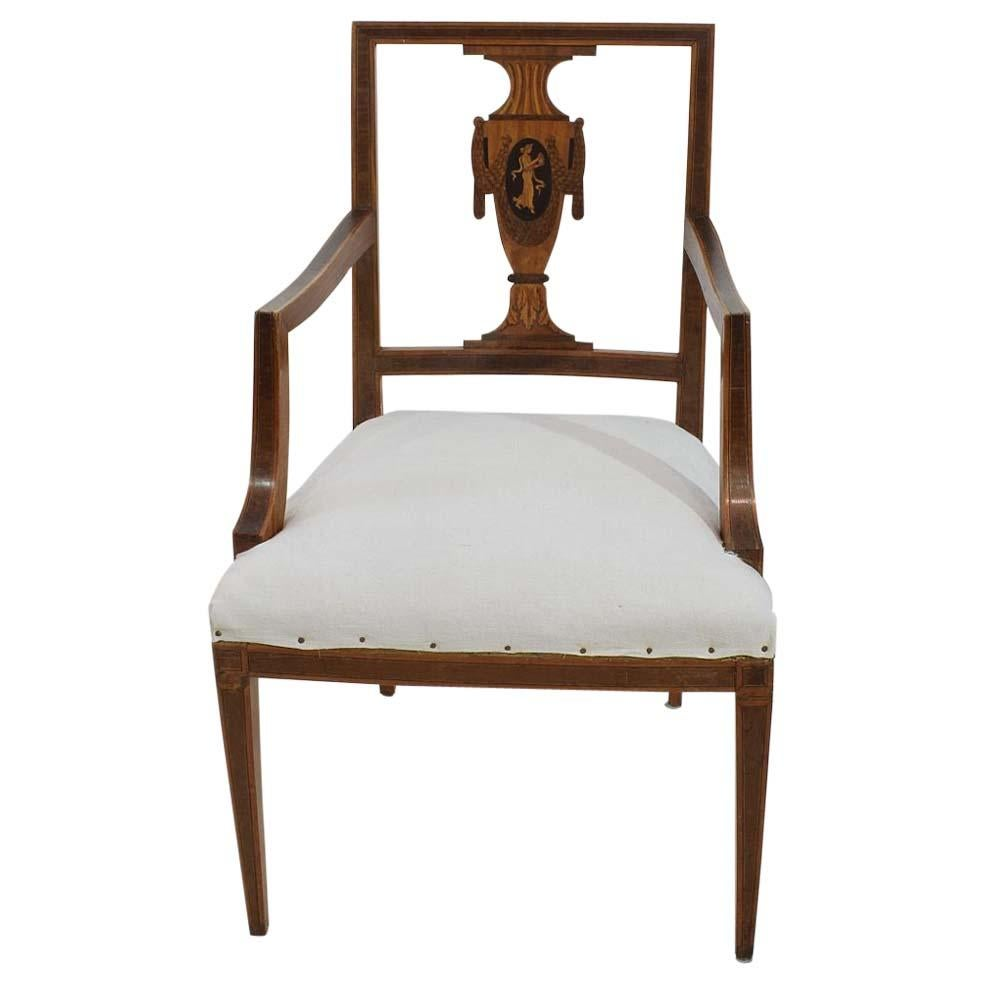 Attrayant Late 18th Century Dutch Neoclassical Mixed Woods Marquetry Inlaid Chair