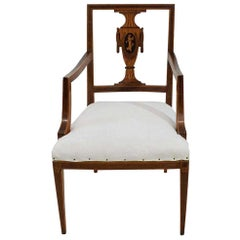 Late 18th Century Dutch Neoclassical Mixed Woods Marquetry Inlaid Chair