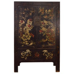 Late 18th Century Elmwood Chinese Fine Painted Cabinet