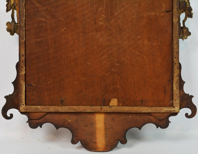 Late 18th Century English Chippendale Carved Mahogany and Parcel Gilt Mirror For Sale 9