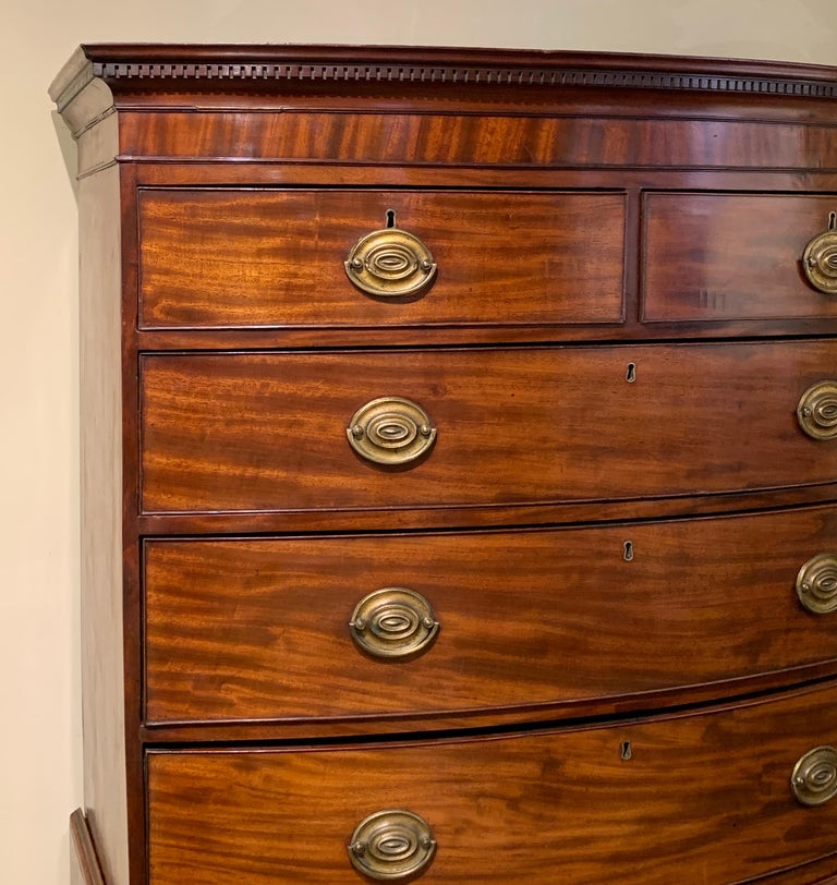 Carved Late 18th Century English Mahogany Bowfront Chest on Chest For Sale