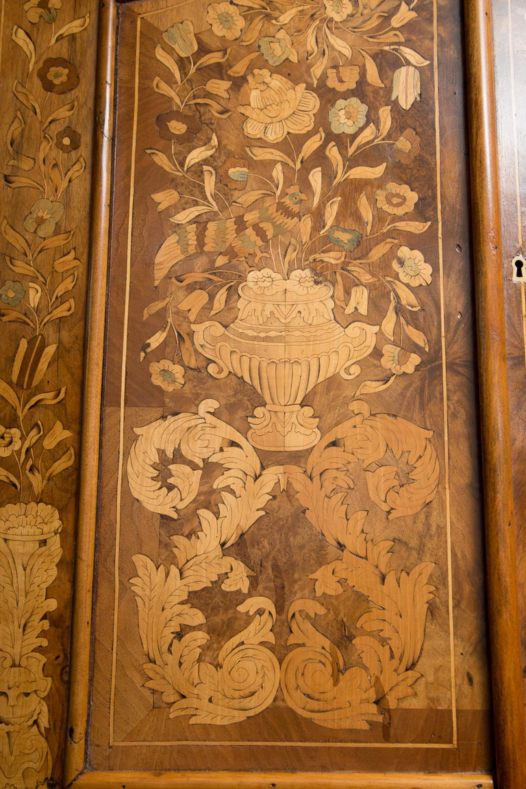 Late 18th Century English Walnut Marquetry Cabinet For Sale 9