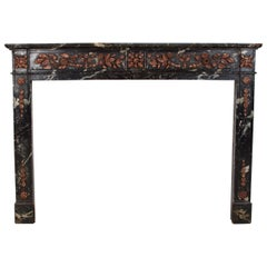 Late 18th Century Faux Marble Wood Carved Fireplace Mantle, in the Adam Style
