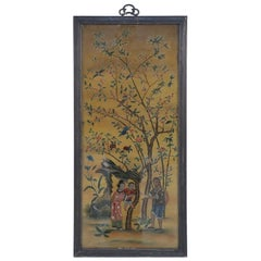 Late 18th Century Framed Chinese Glass Back Painted Scene of a Family