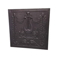 Late 18th Century French Cast Iron Fireback Louis XVI