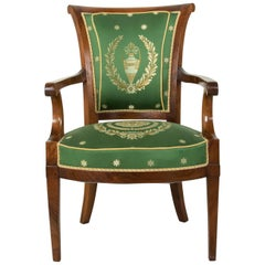 Late 18th Century French Directoire Period Mahogany Armchair, Silk Upholstery