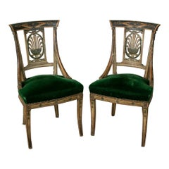Late 18th Century French Directoire Period Painted Side Chairs Occasional Chairs