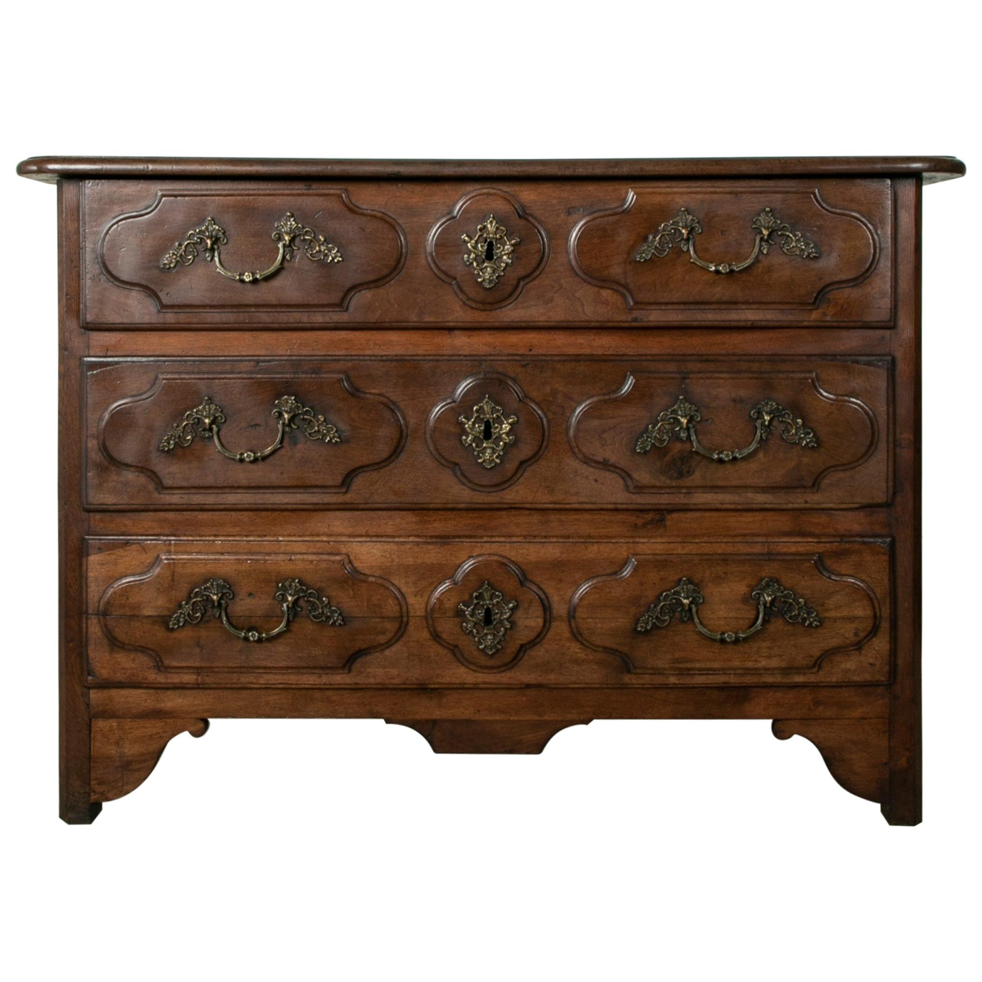 Late 18th Century French Louis XIV Style Hand Carved Walnut Commode or Chest