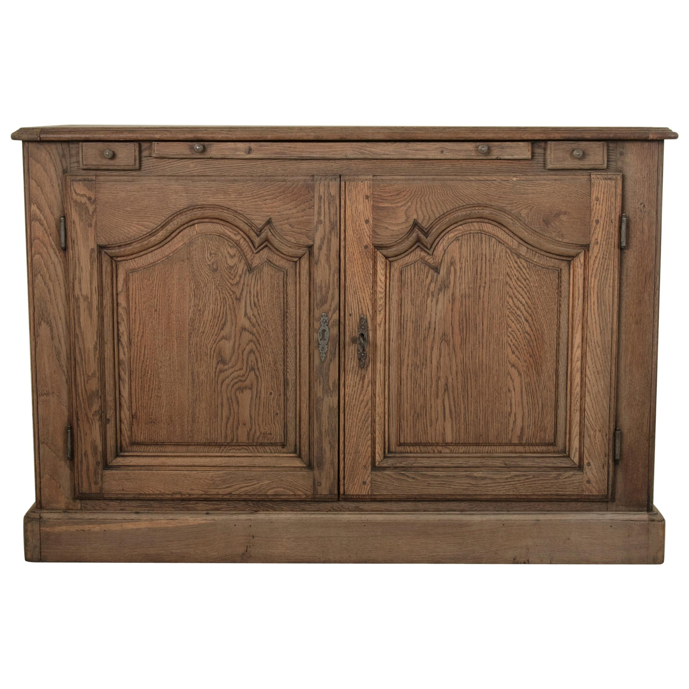 Late 18th Century French Louis XIV Style Stripped Oak Hunt Buffet or Sideboard