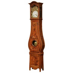 Late 18th Century French Louis XV Carved Burl Walnut Tall Case Clock from Lyon