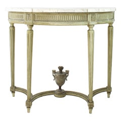 Late 18th Century French Louis XVI Painted Carved Wood Demilune Console Table