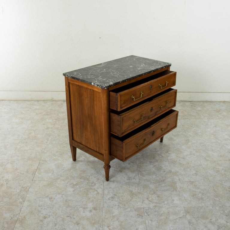 Late 18th Century French Louis XVI Period Walnut Commode or Chest with Marble For Sale 6