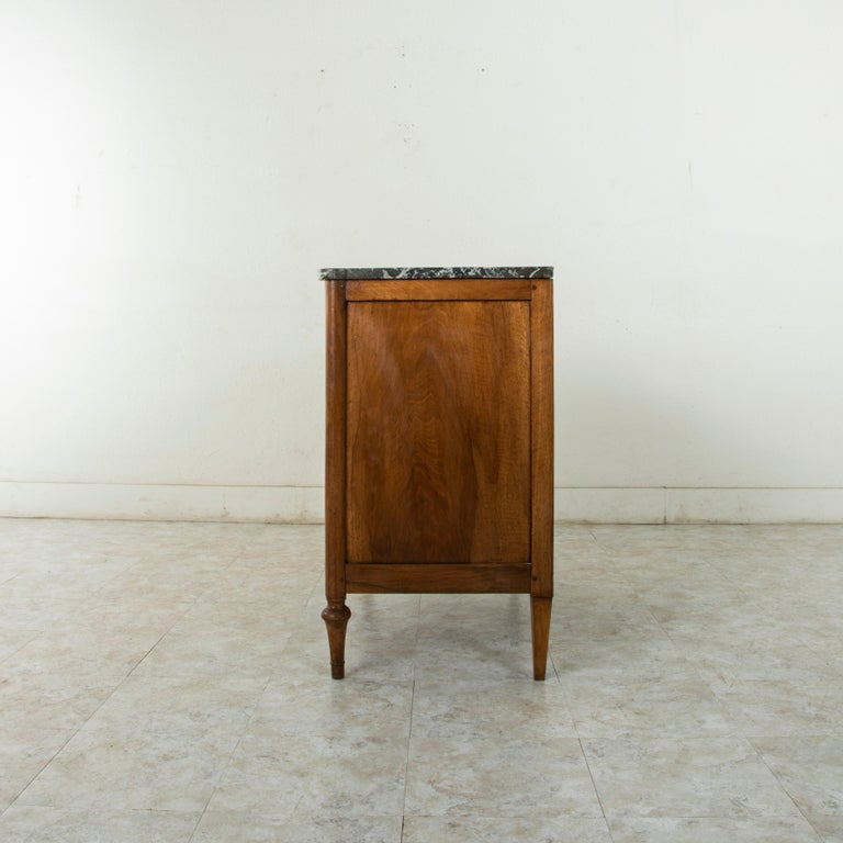 Bronze Late 18th Century French Louis XVI Period Walnut Commode or Chest with Marble For Sale