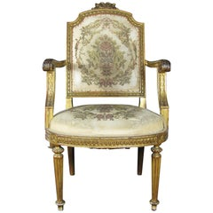 Late 18th Century French Louis XVI Upholstered Armchair in Giltwood