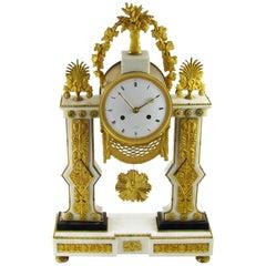 Late 18th Century French Louis XVI White Marble and Ormolu Gilt Mantel Clock
