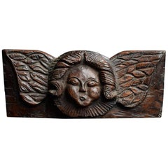 Late 18th Century French Oak Panel of an Angel