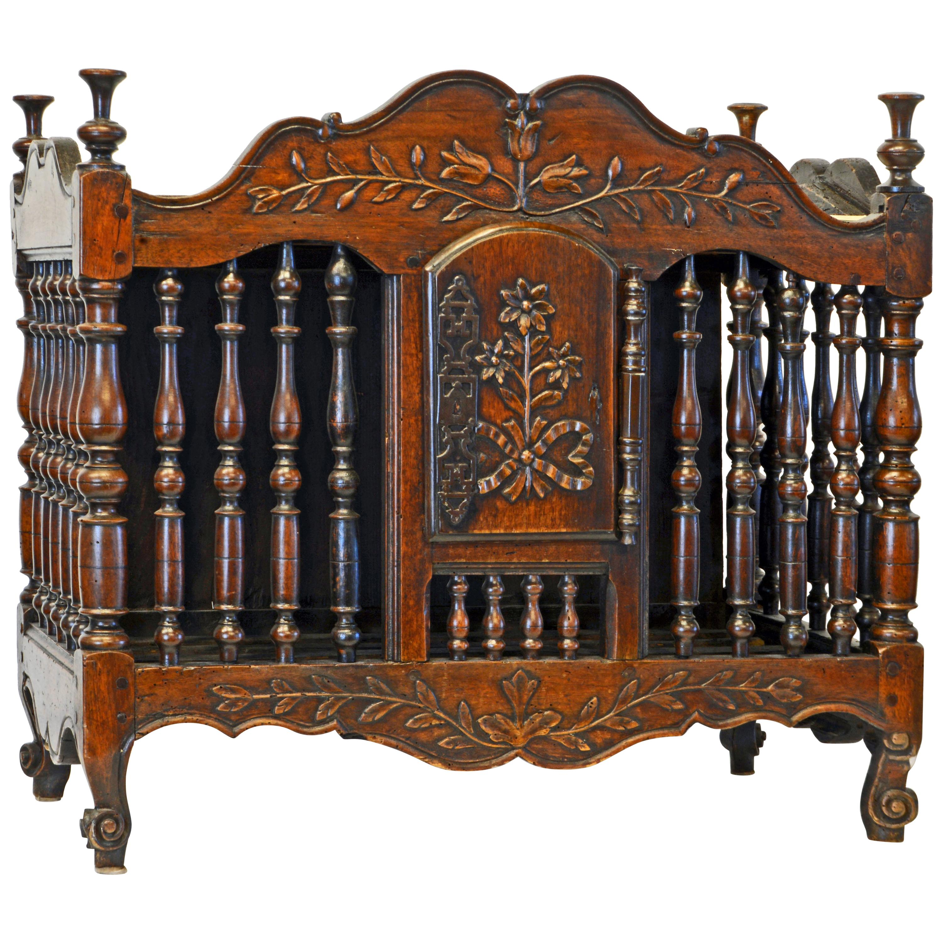 Late 18th Century French Provincial Carved and Turned Walnut Panetiere