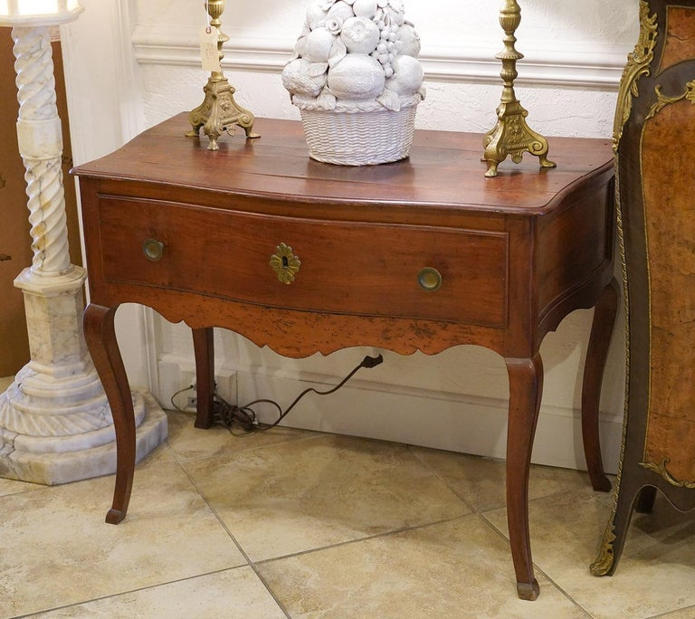 Hand-Carved Late 18th Century French Provincial Cherry Serpentine One Drawer Console Table For Sale