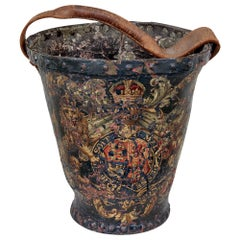 Late 18th Century George III Leather Hand Painted Fire Bucket