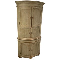 Late 18th Century Gray Painted Swedish Gustavian Curved Corner Cupboard