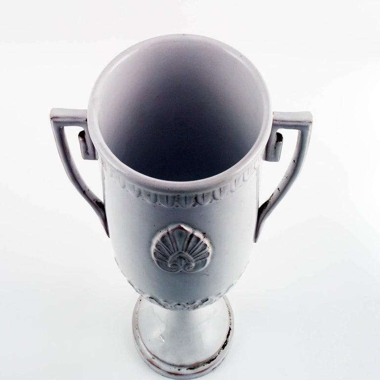 19th Century Late 18th Century, Greek Classic Enameled Terracotta Vase Ceramiche di Este For Sale