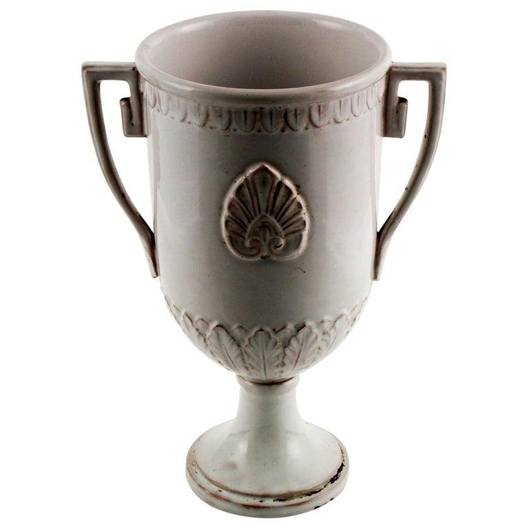 Late 18th Century, Greek Classic Enameled Terracotta Vase Ceramiche di Este For Sale