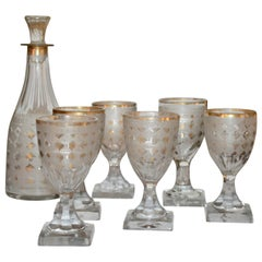 Late 18th Century Harlequin-Cut Pattern Decanter and 6 Small Glasses