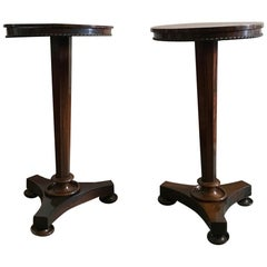 Late 18th Century Italian Antique Walnut Pair Neoclassical Tripodes Columns
