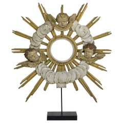 Late 18th Century Italian Baroque Carved Wooden Sunburst with Angelheads