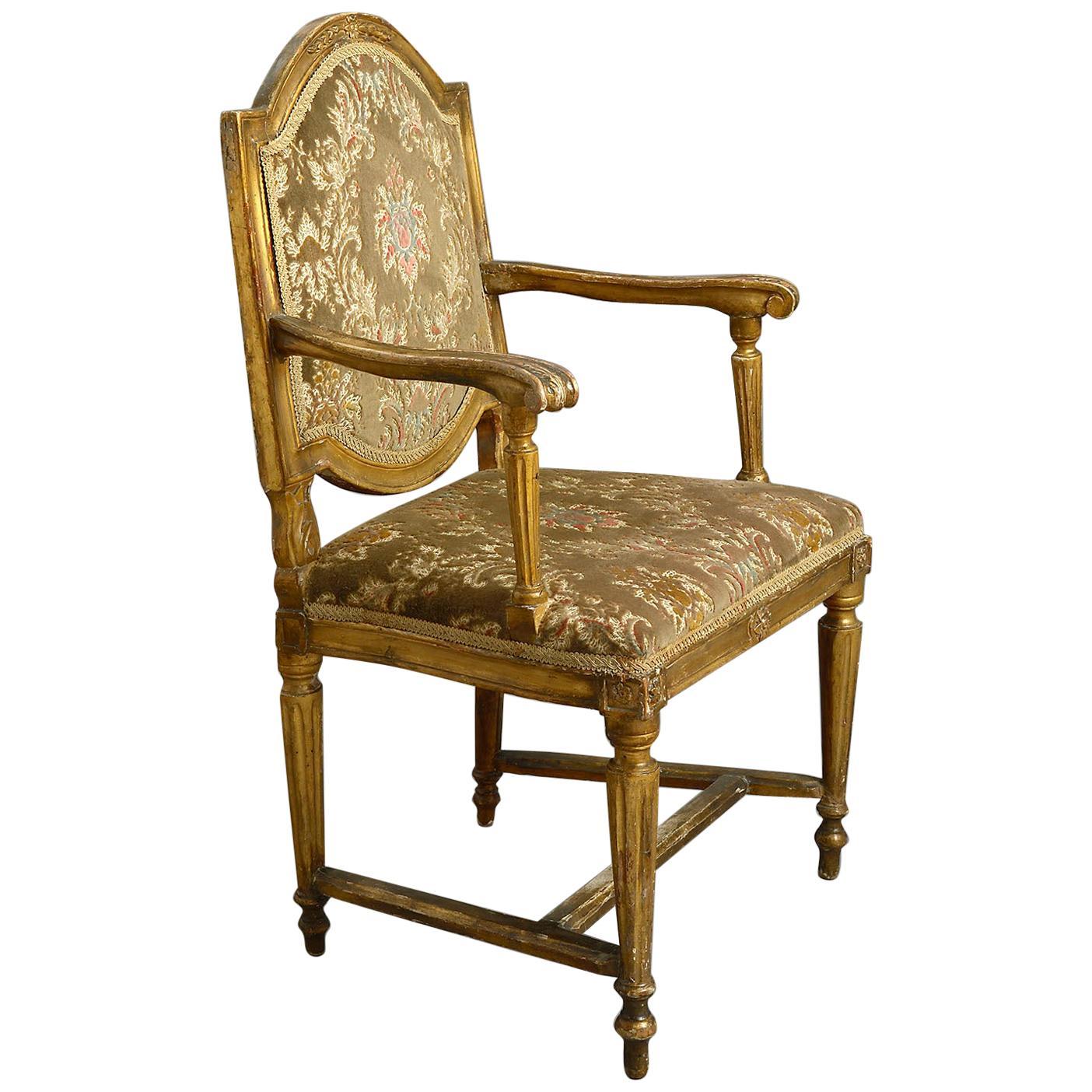 Late 18th Century Italian Giltwood Armchair