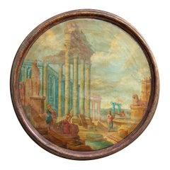 Late 18th Century Italian Painting Classical Roman Ruins