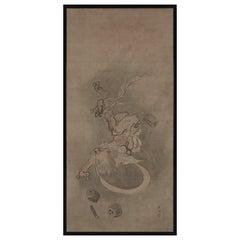 Late 18th Century Japanese Framed Painting, God of Thunder by Yamaguchi Soken