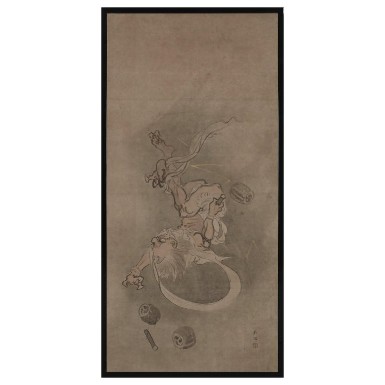 Late 18th Century Japanese Framed Painting, God of Thunder by Yamaguchi Soken For Sale