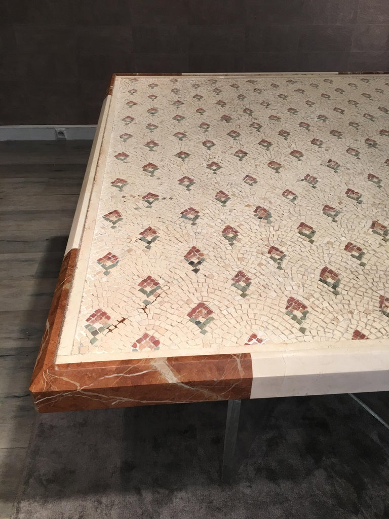 20th Century Late 18th Century Large Beige Marble Mosaic, Italian, currently in Dining Table For Sale