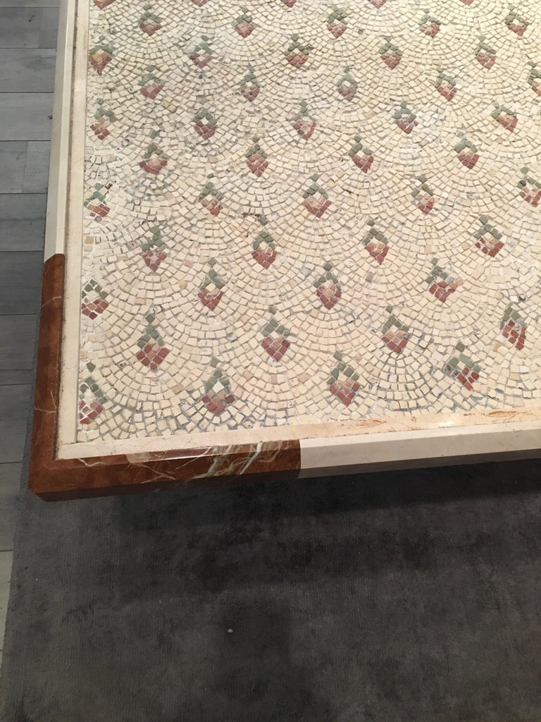 Late 18th Century Large Beige Marble Mosaic, Italian, currently in Dining Table For Sale 1