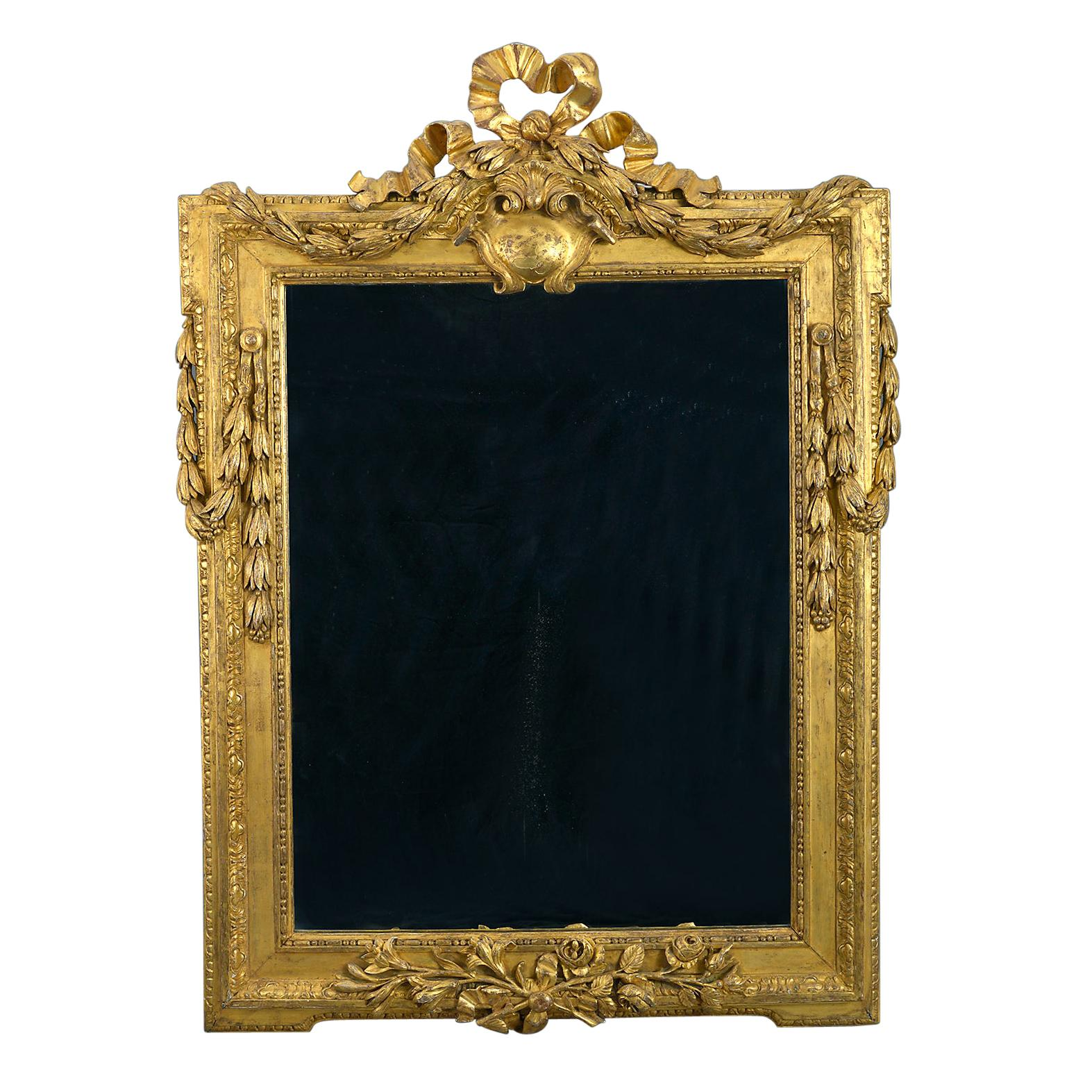 Late 18th Century Large Early Louis XVI Carved Giltwood Mirror