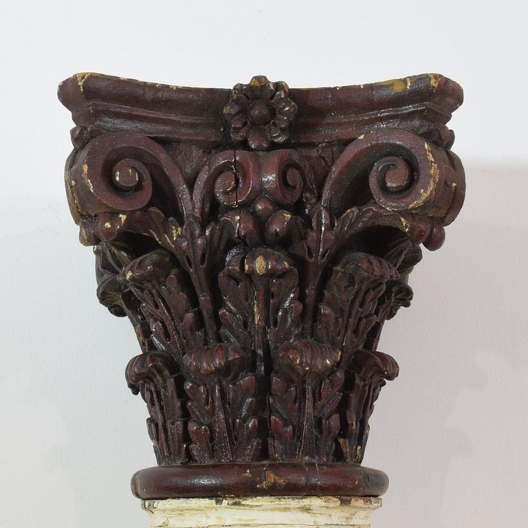 Late 18th Century Large Italian Corinthian Painted Columns For Sale 2