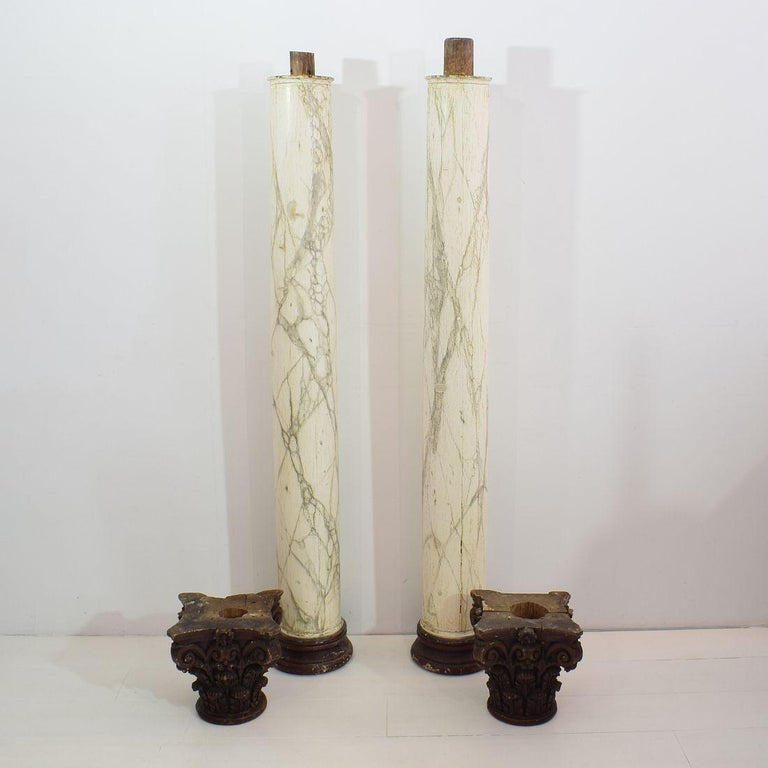 Late 18th Century Large Italian Corinthian Painted Columns For Sale 9