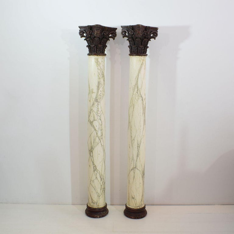 Neoclassical Late 18th Century Large Italian Corinthian Painted Columns For Sale