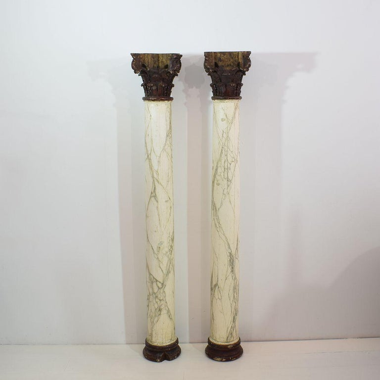 Carved Late 18th Century Large Italian Corinthian Painted Columns For Sale