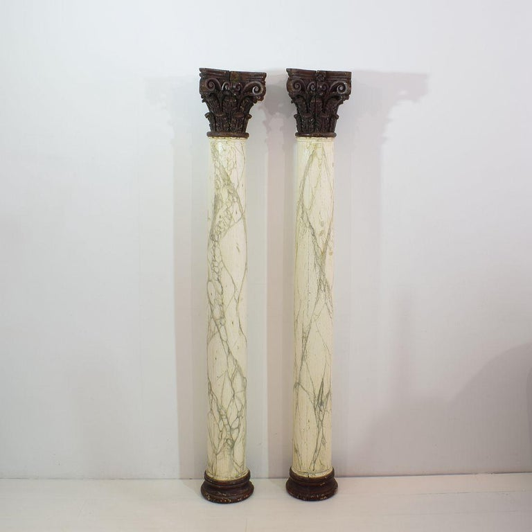 Late 18th Century Large Italian Corinthian Painted Columns In Good Condition For Sale In Amsterdam, NL