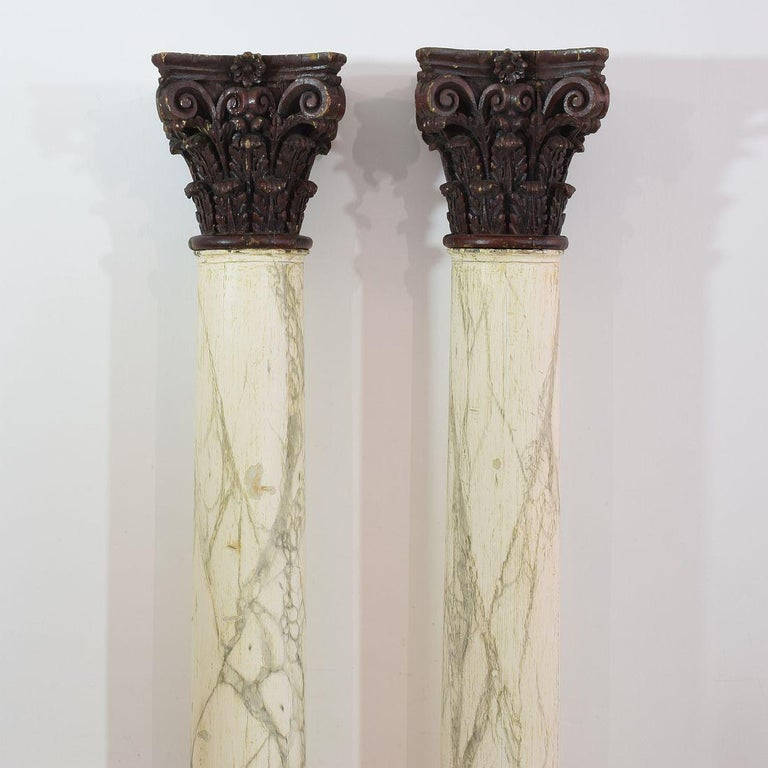 18th Century and Earlier Late 18th Century Large Italian Corinthian Painted Columns For Sale