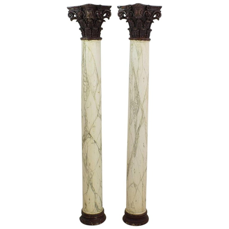 Late 18th Century Large Italian Corinthian Painted Columns For Sale
