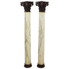 Late 18th Century Large Italian Corinthian Painted Columns